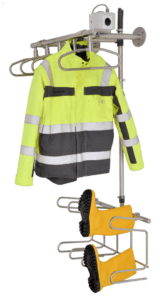 drying system for work jackets and rubber boots