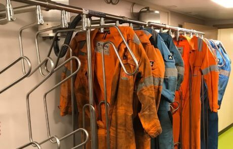drying system for heavy suits on board